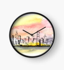 Sunset in the city. Clock