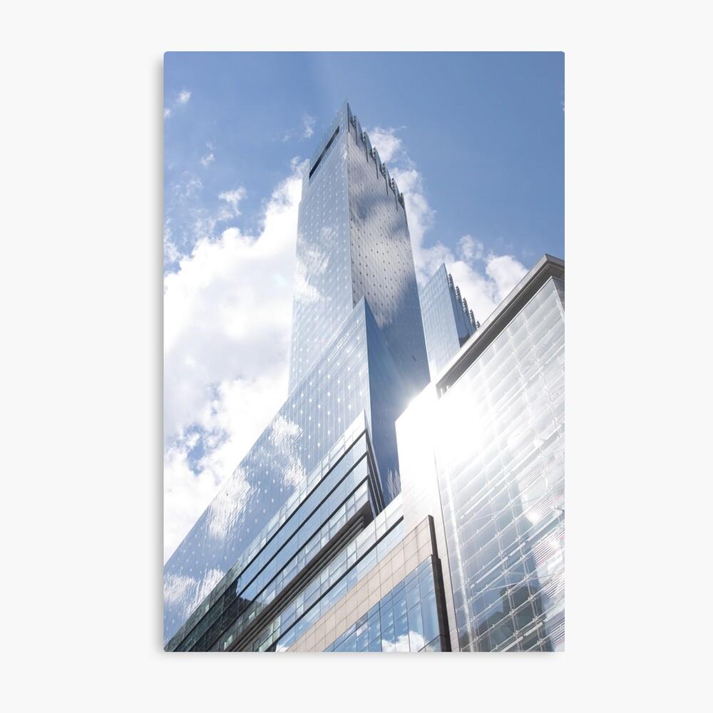 Himmelreflexion auf Wolkenkratzer in New York Metallbild
