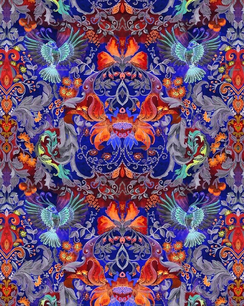 Beautiful magic bird with floral ornamental pattern by eszadesign