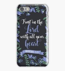 Blue Floral Flower Print Framed Background Proverbs 3:5 Bible Verse iPhone Case/Skin