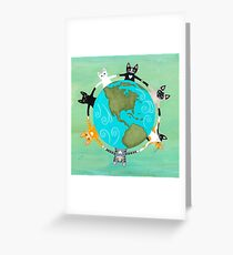 Cats Around the Earth Greeting Card