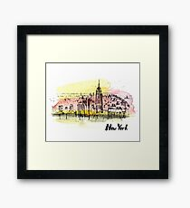 New York with beautiful sky. Framed Print