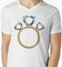 Ring with diamond hearts Mens V-Neck T-Shirt