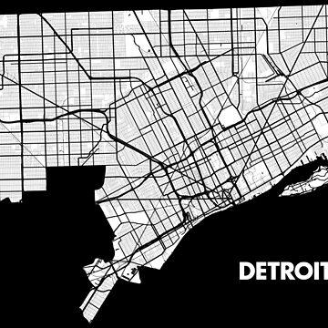 Detroit Street Map - White\