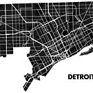 Detroit Street Map - Black by Korben-Dallas
