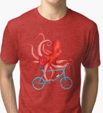 Cycling octopus Tri-blend T-Shirt