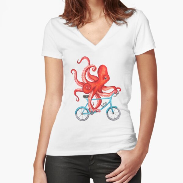 Cycling octopus Fitted V-Neck T-Shirt
