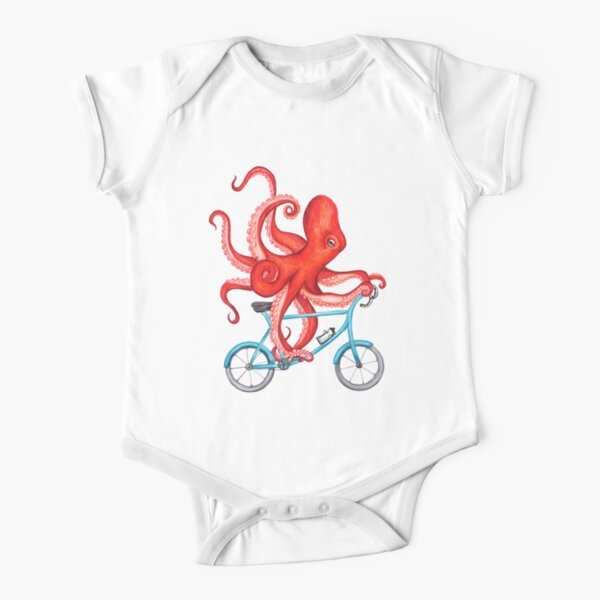 Cycling octopus Short Sleeve Baby One-Piece