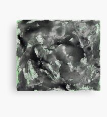 Black Ink on Washed Out Green Background Canvas Print