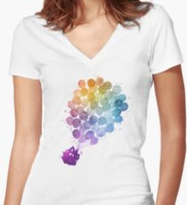 Up - Watercolor Women's Fitted V-Neck T-Shirt