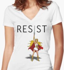 """She-Ra says """"RESIST"""" Women's Fitted V-Neck T-Shirt"""