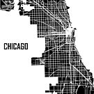 Chicago Illinois Street Map - Black by Korben-Dallas