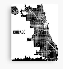 Chicago Illinois Street Map - Black Canvas Print