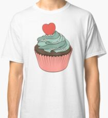 Chocolate cupcake with mint cream and heart Classic T-Shirt