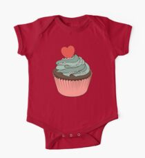 Chocolate cupcake with mint cream and heart One Piece - Short Sleeve