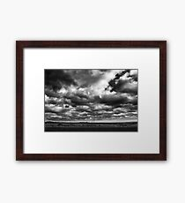 dramatic monochrome sky and rural fields  Framed Print