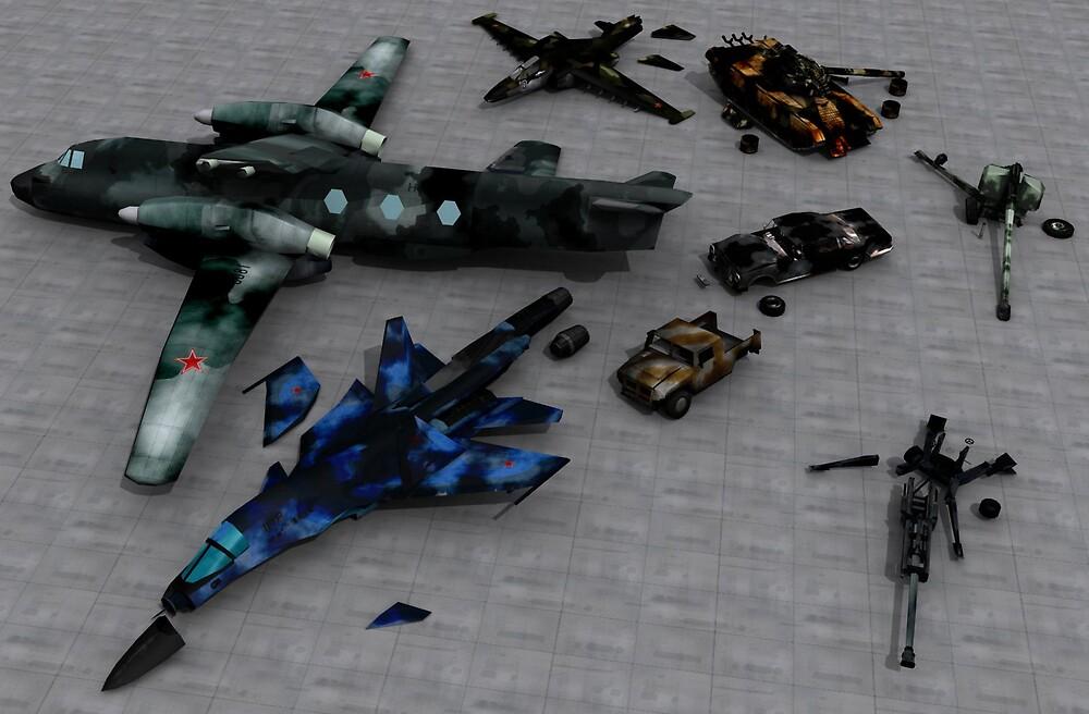 Wrecked vehicles by SenorFreebie