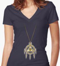 Yu-Gi-Oh! Shining Millennium Ring Women's Fitted V-Neck T-Shirt
