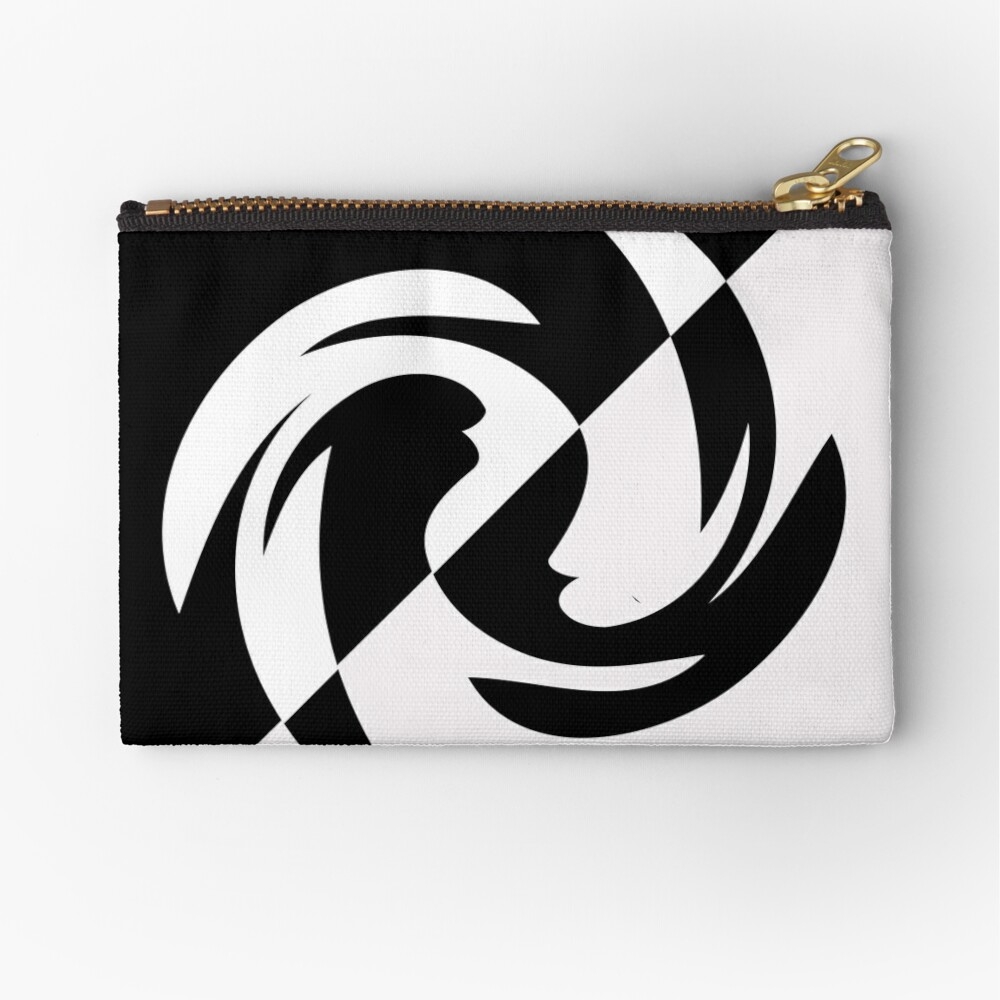 Half and Half with Spin ( black and white) by Julie Everhart Zipper Pouch