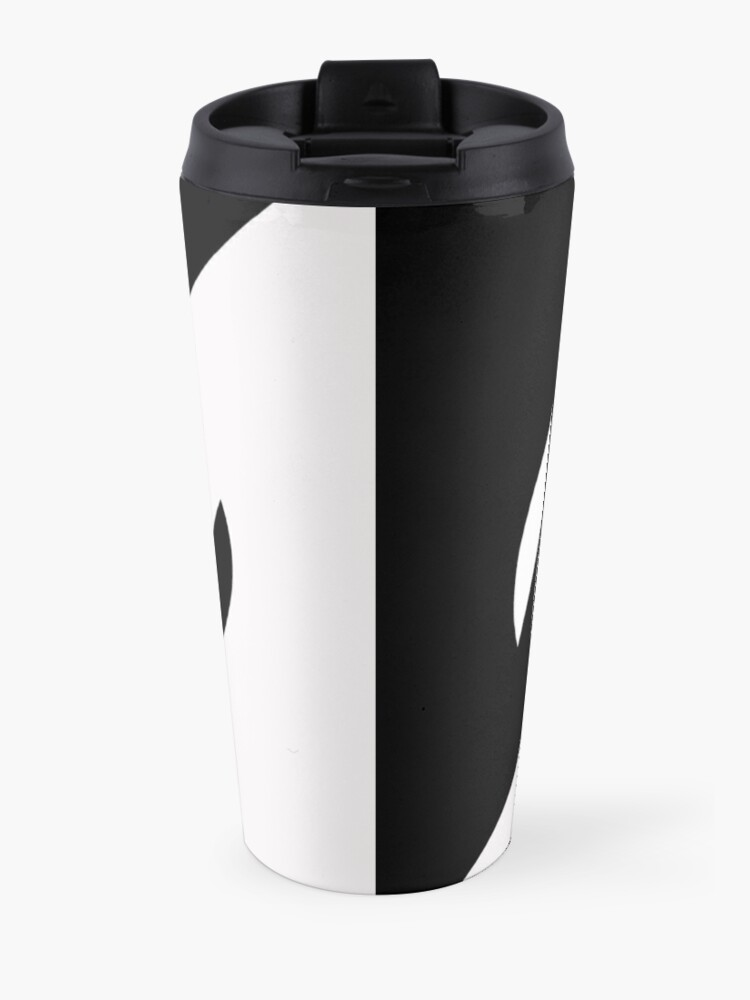Alternate view of Half and Half with Spin ( black and white) by Julie Everhart Travel Mug