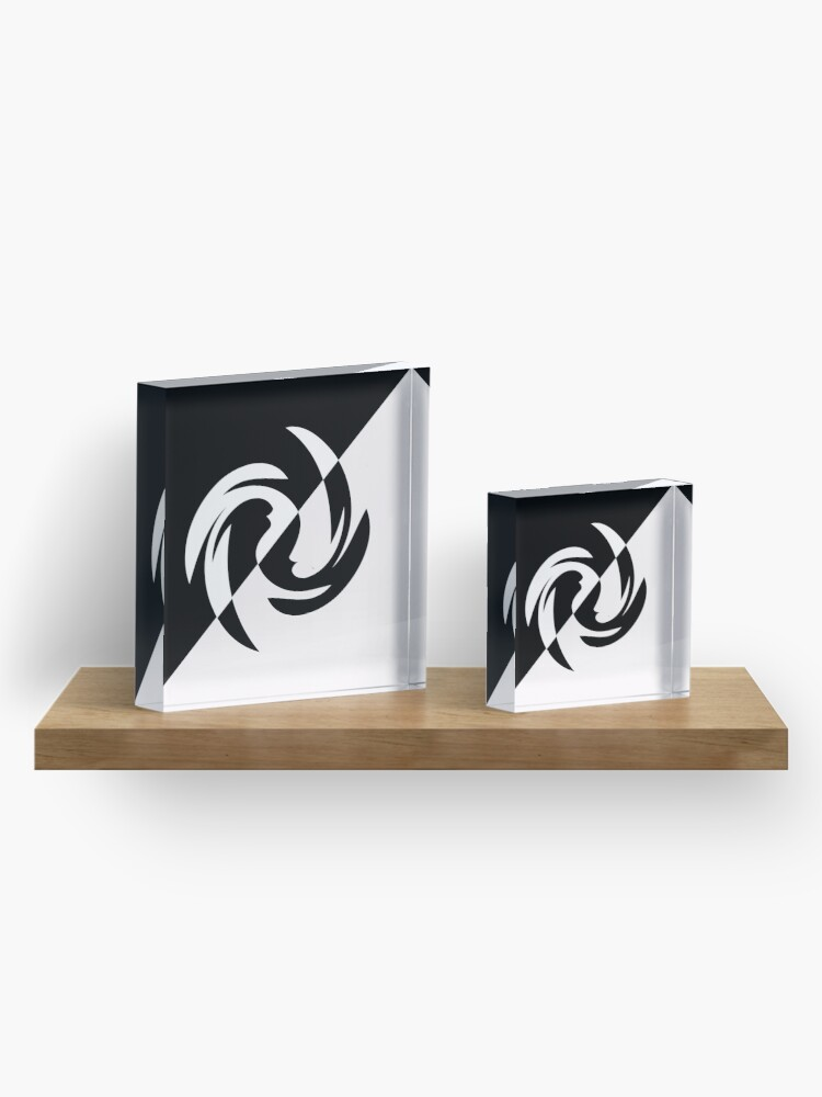 Alternate view of Half and Half with Spin ( black and white) by Julie Everhart Acrylic Block