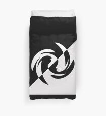 Half and Half with Spin ( black and white) by Julie Everhart Duvet Cover
