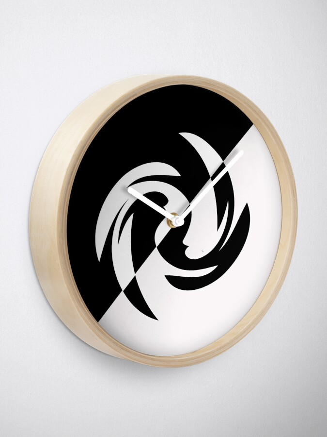 Alternate view of Half and Half with Spin ( black and white) by Julie Everhart Clock
