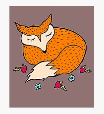 Sleeping Fox With Flowers Photographic Print
