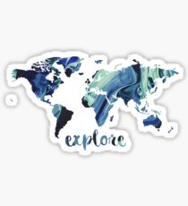 world map explore Sticker