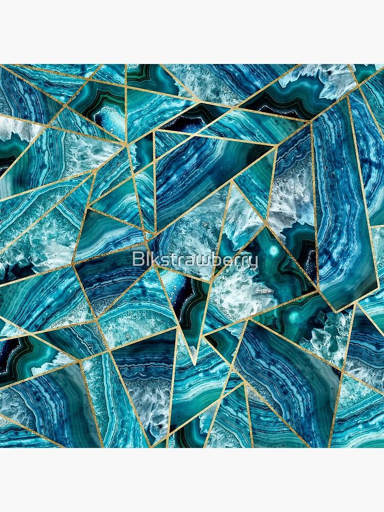 Turquesa azul marino ágata negro oro geométrico triángulos de Blkstrawberry