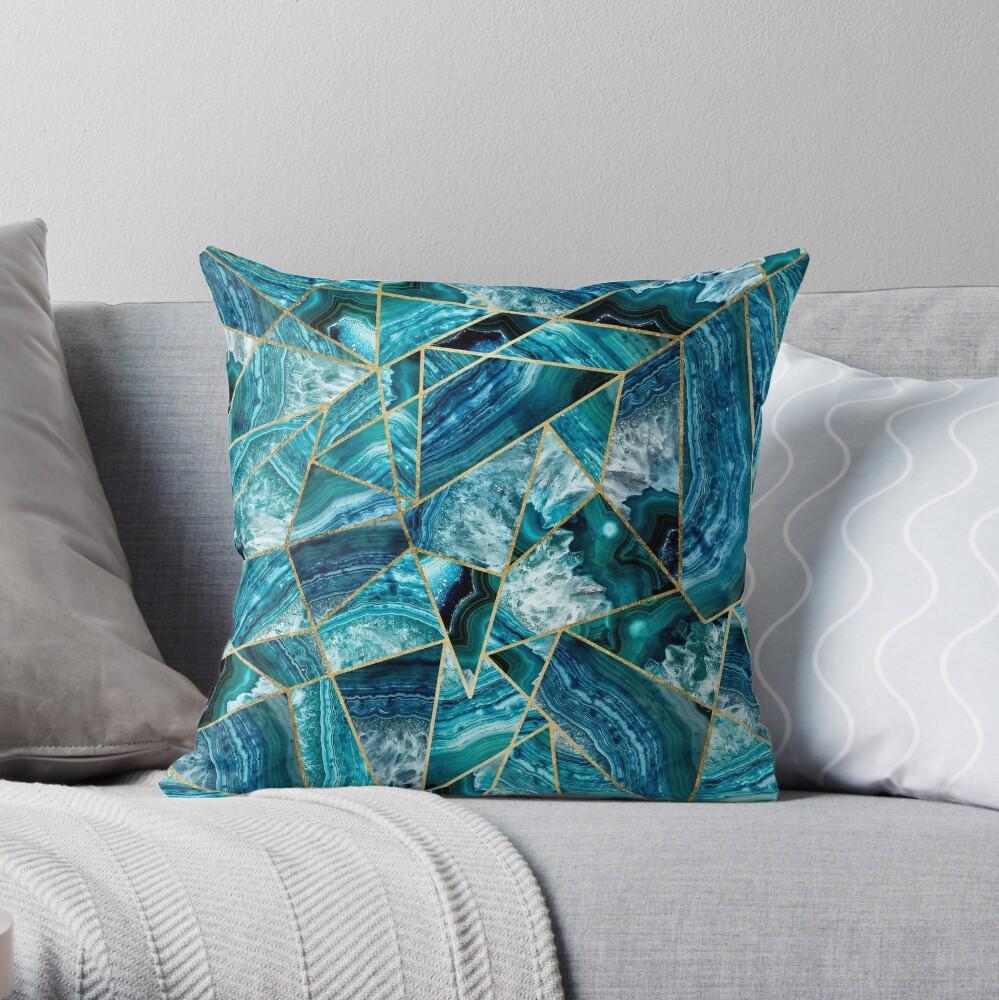 Turquesa azul marino ágata negro oro geométrico triángulos Cojín