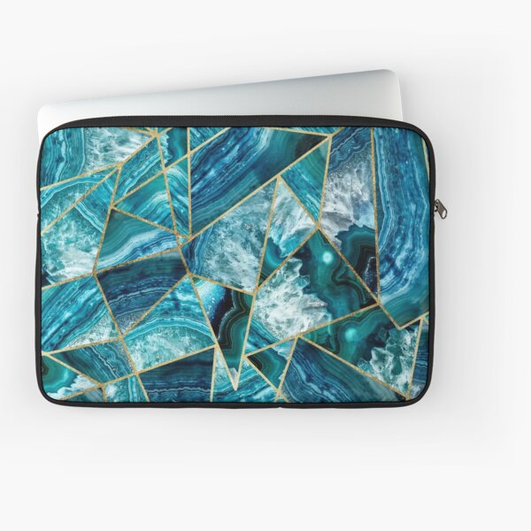 Turquoise Navy Blue Agate Black Gold Geometric Triangles Laptop Sleeve