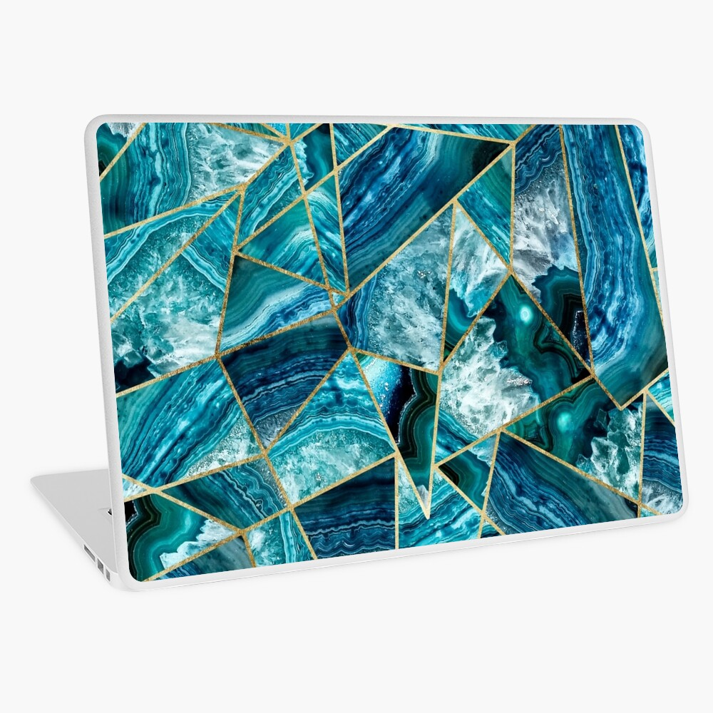 Turquoise Navy Blue Agate Black Gold Geometric Triangles Laptop Skin