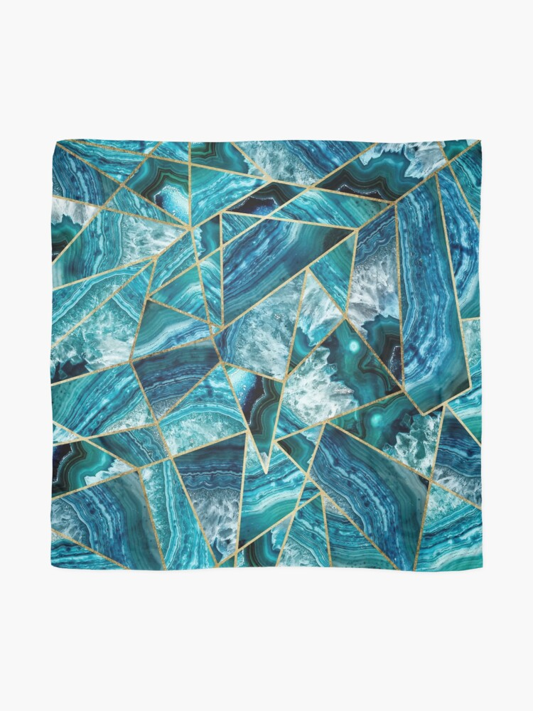 Alternate view of Turquoise Navy Blue Agate Black Gold Geometric Triangles Scarf
