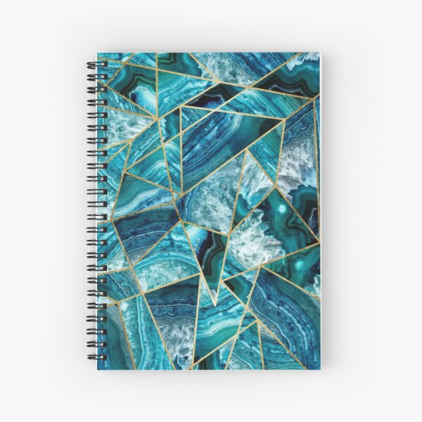 Turquoise Navy Blue Agate Black Gold Geometric Triangles Spiral Notebook