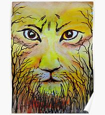 Beautiful Mighty Lion Face Painting Poster