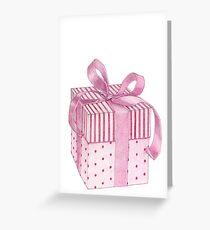 Pink Gift Box Greeting Card