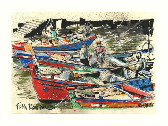 Fishing Boats, Ferragudo, Portugal by Al Benge