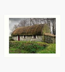 Old tatched Irish country famine cottage Art Print