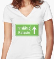 Kalasin, Isaan, Thailand Ahead ⚠ Thai Traffic Sign ⚠ Women's Fitted V-Neck T-Shirt