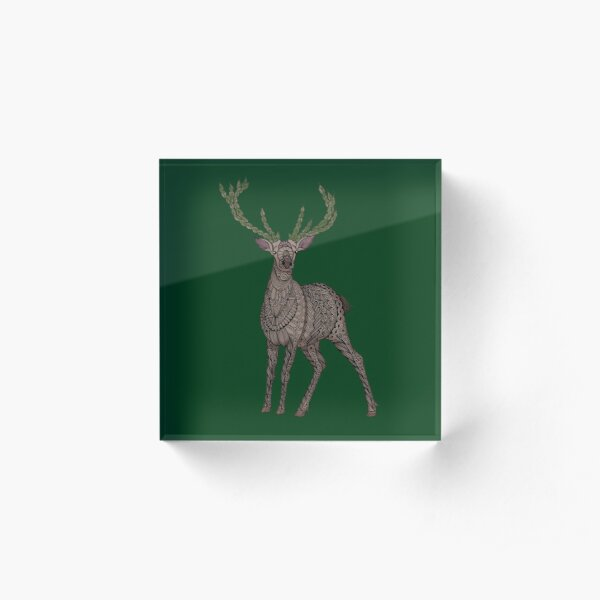 Stag on hunter green Acrylic Block