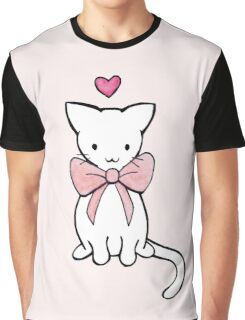 Kitten with Pink Bow Graphic T-Shirt