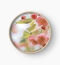 Pink and Green Pastel Flowering Tree Branch Clock
