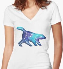 "Ursa Major ""Big Dipper"" Constellation Watercolor Painting Women's Fitted V-Neck T-Shirt"