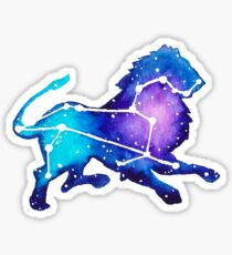 Leo Zodiac Constellation Watercolor Painting Sticker