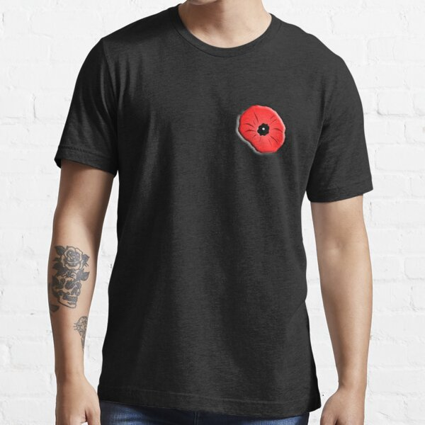 Poppy. Remembrance Day, Armistice Day, War, Soldier, on Black. Essential T-Shirt