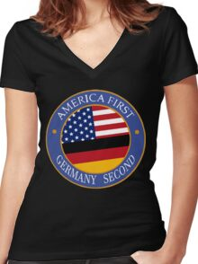 America First Germany Second Women's Fitted V-Neck T-Shirt