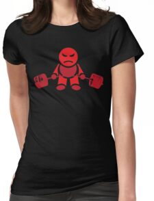 Cute Weightlifting Robot - RED Womens Fitted T-Shirt