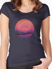 Distressed Sunset Women's Fitted Scoop T-Shirt