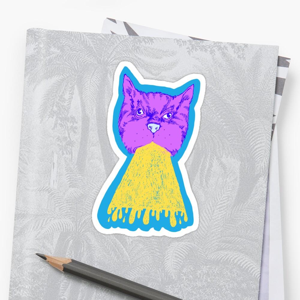 Cat Vomit - Purple Poot + Blue Background by Chaparralia